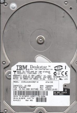 IC35L010AVER07-0, PN 07N7401, MLC H32161, IBM 10GB IDE 3.5 Hard Drive