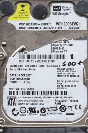 WD1200BEVS-75UST0, DCM HHCVJHBB, Western Digital 120GB SATA 2.5 BSectr HDD