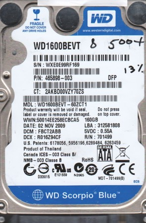 WD1600BEVT-60ZCT1, DCM FBCT2ABB, Western Digital 160GB SATA 2.5 BSectr HDD