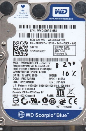 WD1600BEVT-75ZCT2, DCM FHCT2ABB, Western Digital 160GB SATA 2.5 BSectr HDD