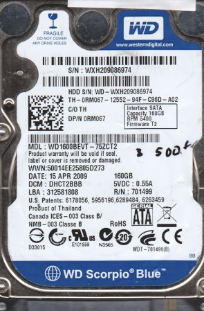 WD1600BEVT-75ZCT2, DCM DHCT2BBB, Western Digital 160GB SATA 2.5 BSectr HDD
