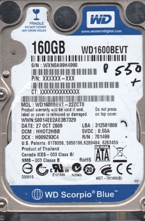WD1600BEVT-22ZCT0, DCM HHOT2HBB, Western Digital 160GB SATA 2.5 BSectr HDD