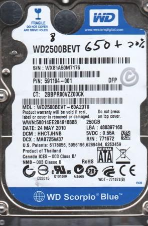 WD2500BEVT-60A23T0, DCM HHCTJHNB, Western Digital 250GB SATA 2.5 BSectr HDD