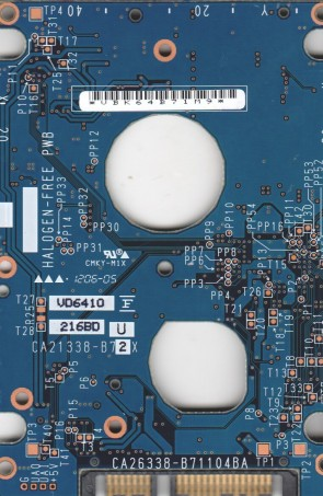 MHV2100BH, PN CA06672-B24500C1, Fujitsu 100GB SATA 2.5 PCB