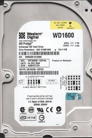 WD1600AB-22DYA0, DCM HSBHCTJCH, Western Digital 160GB IDE 3.5 Hard Drive