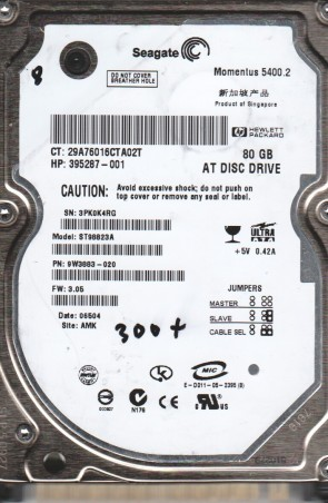 ST98823A, 3PK, AMK, PN 9W3883-020, FW 3.05, Seagate 80GB IDE 2.5 BSectr HDD