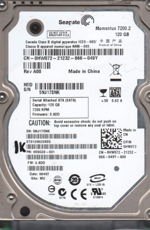 ST9120823ASG, 5NJ, WU, PN 9S5G33-031, FW 3.ADD, Seagate 120GB SATA 2.5 BSectr HDD