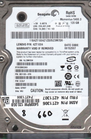 ST9120822AS, 5LZ, WU, PN 9S1133-070, FW 3.CLF, Seagate 120GB SATA 2.5 BSectr HDD