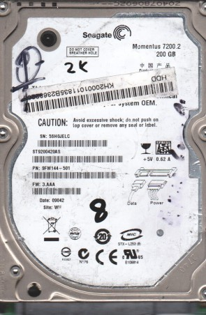 ST9200420AS, 5SH, WU, PN 9FW144-501, FW 3.AAA, Seagate 200GB SATA 2.5 BSectr HDD