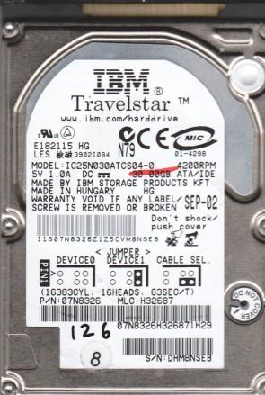 IC25N030ATCS04-0, PN 07N8326, MLC H32687, IBM 30GB IDE 2.5 BSectr HDD