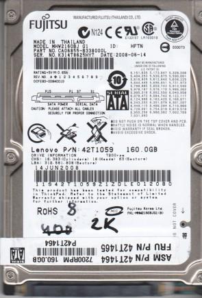 MHW2160BJ G1, PN CA06855-B338000L, Fujitsu 160GB SATA 2.5 BSectr HDD