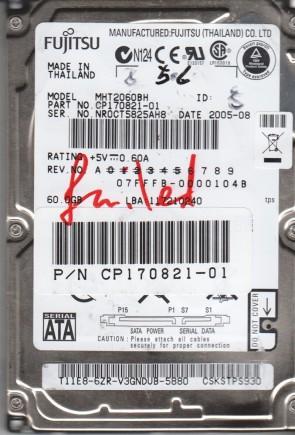 MHT2060BH, PN CP170821-01, Fujitsu 60GB SATA 2.5 BSectr HDD