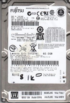 MHV2060BH PL, PN CA06672-B211000L, Fujitsu 60GB SATA 2.5 BSectr HDD