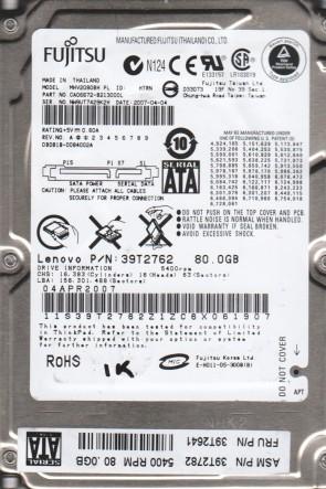 MHV2080BH PL, PN CA06672-B213000L, Fujitsu 80GB SATA 2.5 BSectr HDD