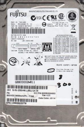 MHV2080BH PL, PN CA06672-B273000T, Fujitsu 80GB SATA 2.5 BSectr HDD