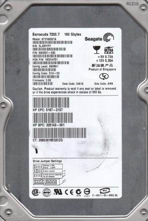 ST3160021A, 3LJ, AMK, PN 9W2001-030, FW 3.08, Seagate 160B IDE 3.5 Hard Drive