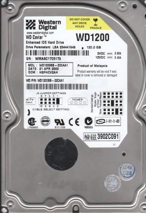 WD1200BB-22CAA1, DCM HSFHCV2AH, Western Digital 120GB IDE 3.5 Hard Drive