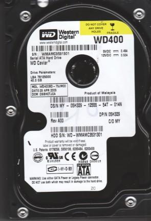 WD400BD-75JMC0, DCM DSBHCTJCA, Western Digital 40GB SATA 3.5 Hard Drive
