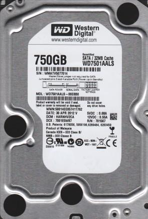 WD7501AALS-00E8B0, DCM HARNHV2CA, Western Digital 750GB SATA 3.5 Hard Drive