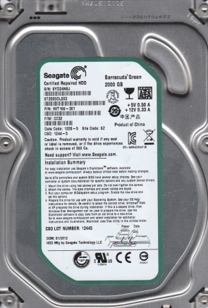 ST2000DL003, 6YD, SZ, PN 9VT166-301, FW CC32, Seagate 2TB SATA 3.5 Hard Drive