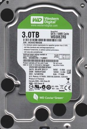 WD30EZRS-11J99B1, DCM HARCHT2AB, Western Digital 3TB SATA 3.5 Hard Drive