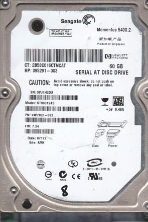 ST96812AS, 3PJ, AMK, PN 9W3182-022, FW 7.24, Seagate 60GB SATA 2.5 BSectr HDD
