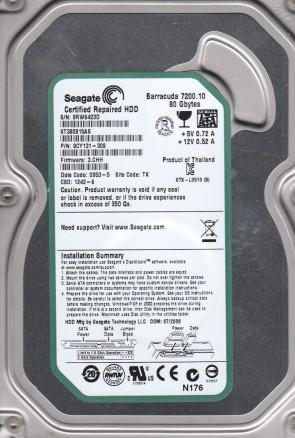 ST380815AS, 9RW, TK, PN 9CY131-308, FW 3.CHH, Seagate 80GB SATA 3.5 Hard Drive