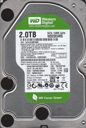 WD20EARS-22MVWB0, DCM HBRNNTJMAB, Western Digital 2TB SATA 3.5 Hard Drive