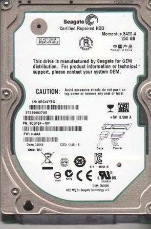 ST9250827AS, 5RG, WU, PN 9DG134-501, FW 3.AAA, Seagate 250GB SATA 2.5 Hard Drive
