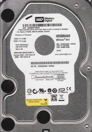 WD5000AAKS-00C8A0, DCM HHNNHT2CBB, Western Digital 500GB SATA 3.5 Hard Drive