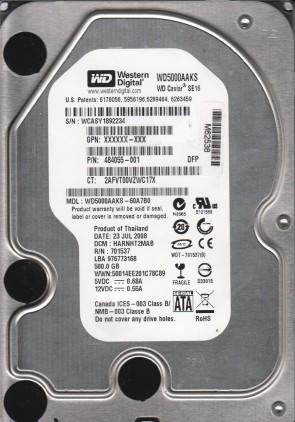 WD5000AAKS-60A7B0, DCM HARNHT2MAB, Western Digital 500GB SATA 3.5 Hard Drive