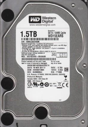 WD15EARS-00U0AB0, DCM HHRNHT2MH, Western Digital 1.5TB SATA 3.5 Hard Drive