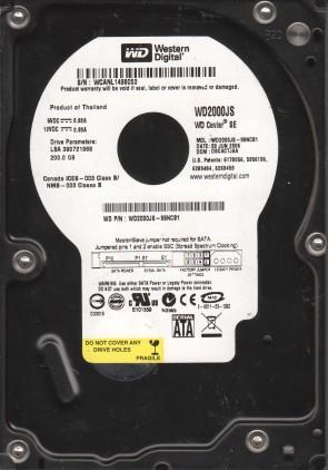 WD2000JS-98NCB1, DCM DSCACTJAA, Western Digital 200GB SATA 3.5 Hard Drive