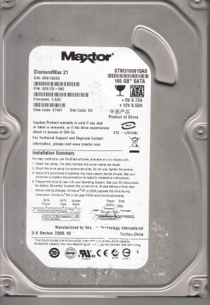 STM3160815AS, 6RA, SU, PN 9DS132-560, FW 3.AAC, Maxtor 160GB SATA 3.5 Hard Drive