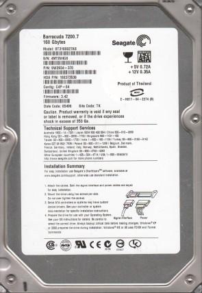 ST3160827AS, 4MT, TK, PN 9W2934-370, FW 3.42, Seagate 160GB SATA 3.5 Hard Drive