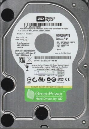 WD7500AAVS-00D7B0, DCM DARNHT2CBB, Western Digital 750GB SATA 3.5 Hard Drive