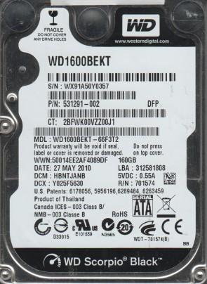 WD1600BEKT-66F3T2, DCM HBNTJANB, Western Digital 160GB SATA 2.5 Hard Drive