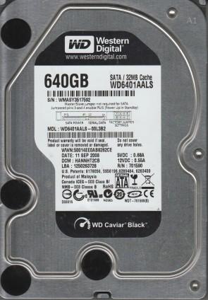 WD6401AALS-00L3B2, DCM HANNHT2CB, Western Digital 640GB SATA 3.5 Hard Drive