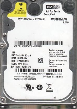 WD10TMVW-11ZSMS1, DCM HHMTJHN, Western Digital 1TB USB 2.5 Hard Drive