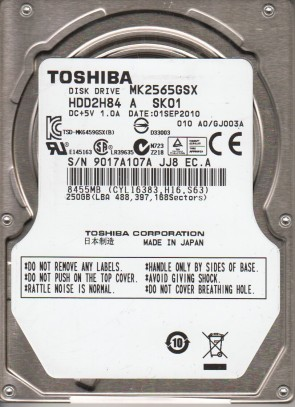 MK2565GSX, A0/GJ003A, HDD2H84 A SK01, Toshiba 250GB SATA 2.5 Hard Drive