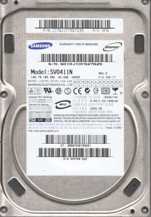 SV0411N, FW 100-11, P/V SFN, Samsung 40GB IDE 3.5 Hard Drive