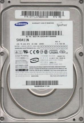 SV0411N, FW 100-08, P/V MS, Samsung 40GB IDE 3.5 Hard Drive