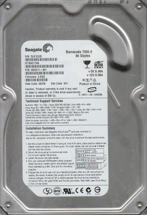ST3802110A, 5LS, WU, PN 9BD011-301, FW 3.AAD, Seagate 80GB IDE 3.5 Hard Drive