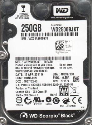 WD2500BJKT-00F4T0, DCM HBNTJHN, Western Digital 250GB SATA 2.5 Hard Drive