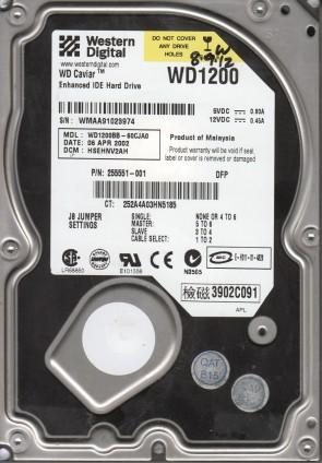 WD1200BB-60CJA0, DCM HSEHNV2AH, Western Digital 120GB IDE 3.5 Hard Drive