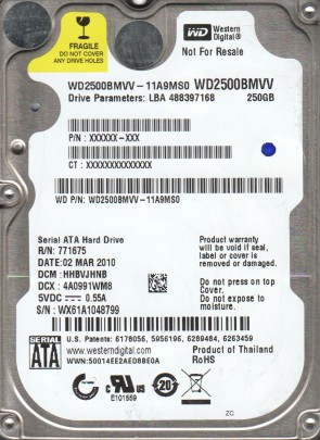 WD2500BMVV-11A9MS0, DCM HHBVJHNB, Western Digital 250GB USB 2.5 Hard Drive