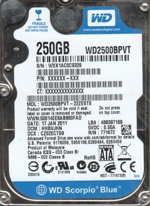 WD2500BPVT-22ZEST0, DCM HHBVJHN, Western Digital 250GB SATA 2.5 Hard Drive