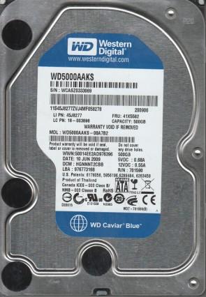 WD5000AAKS-08A7B2, DCM HGNNNT2CBB, Western Digital 500GB SATA 3.5 Hard Drive