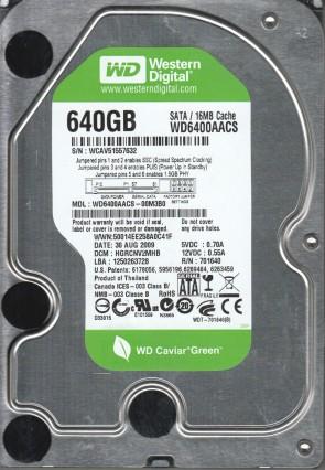 WD6400AACS-00M3B0, DCM HGRCNV2MHB, Western Digital 640GB SATA 3.5 Hard Drive
