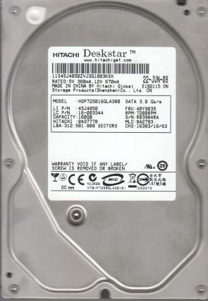 HDP725016GLA380, PN 0A37770, MLC BA2783, Hitachi 160GB SATA 3.5 Hard Drive